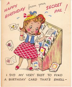 Vintage birthday card for a secret pal