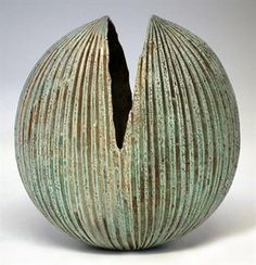 Alan Wallwork vase with fluted body, engraved mark to base, 24cm high Artists` Resale Right (droi