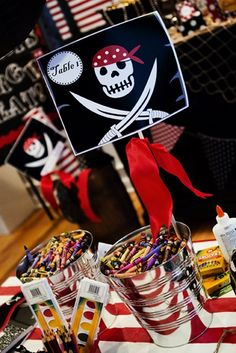 Cute Pirate themed classroom.... those crayons would not stay like that in a kinder classroom!!! But cute idea!!