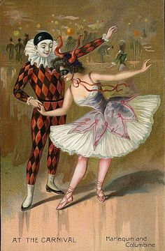 Harlequin and Columbine Vintage Postcards, Vintage Images, Vintage Art, Circus Art, Circus Theme, Pierrot Clown, Harlequin Pattern, Send In The Clowns, Vintage Circus