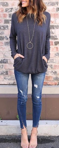 #cute #outfits Grey Sweater // Ripped Skinny Jeans // Sandals