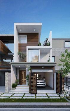 39 Pretty Small Exterior House Design Architecture Ideas ~ You ca. Narrow House Designs, Modern Small House Design, Modern Minimalist House, Small Modern Houses, Contemporary Design, Gate Designs Modern, Modern Villa Design, Contemporary Houses, Townhouse Designs