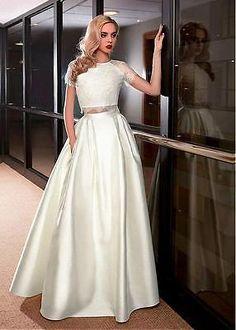 Amazing Satin Jewel Neckline Two-piece A-line Wedding Dress