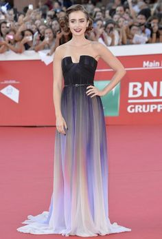 Lily Collins in Elie Saab Couture at the Rome Film Festival