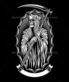 Buy Grim Reaper Vector Art by vectorfreak on GraphicRiver. fully editable vector illustration (editable EPS) of grim reaper on black background, image suitable for tattoo or gr. Grim Reaper Art, Grim Reaper Tattoo, Tattoo Design Drawings, Tattoo Designs, Art Drawings, Tattoo Ideas, Skull Tattoos, Body Art Tattoos, Sleeve Tattoos
