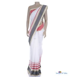Off-white cotton saree with ganga jamuna border