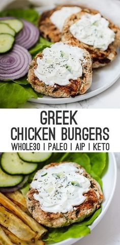 Healthy dinner recipes 720505640372711992 - Greek Chicken Burgers (Paleo, Keto, AIP) – Unbound Wellness Source by thathealthbabe Clean Eating Recipes For Dinner, Clean Eating Snacks, Healthy Dinner Recipes, Healthy Eating, Cooking Recipes, Greek Food Recipes, Greek Chicken Recipes, Paleo Recipes Dinner Chicken, Apple Recipes Dinner