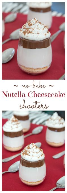 No-Bake Nutella Cheesecake Shooters - layers of cheesecake, chocolate hazelnut spread and whipped cream on top of a classic graham cracker or gluten free crust and topped with whipped cream are a simple, rich and elegant mini dessert perfect for a party! Mini Desserts, Easy No Bake Desserts, Just Desserts, Delicious Desserts, Dessert Recipes, Yummy Food, Cheesecake Shooters, No Bake Nutella Cheesecake, Dessert Shooters