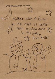 Items similar to Primitive Stitchery Pattern Folk Art Walking With A Friend Snowmen on Etsy Folk Embroidery, Learn Embroidery, Christmas Embroidery, Hand Embroidery Patterns, Cross Stitch Embroidery, Embroidery Designs, Vintage Embroidery, Cross Stitching, Primitive Stitchery