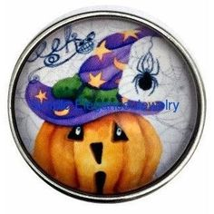 #3091 Halloween Pumpkin Spider 20mm Snap for Snap Charm Jewelry