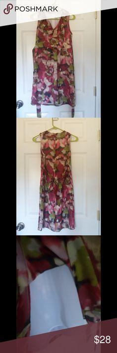 """Ann Taylor Loft Dress Super cute loft dress size 2P floral water color print, neck ruffle, back zipper closure, back tie belt. Dress length: from shoulder to hem 34"""" Condition: Excellent Ann taylor loft  Dresses Midi"""