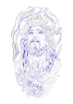 Jesus Christ Drawing, Half Sleeve Tattoos Drawings, Chicano Art Tattoos, Diamond Drawing, Stencils, Sketches, Time Tattoos, Decals, Tatoo