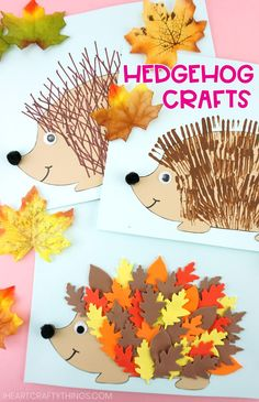 Three fun and easy ways to use our free hedgehog template to create cute hedgehog crafts for kids. Leaf hedgehog, fork painting and ruler lines fall crafts. #iheartcraftythings