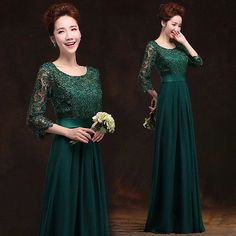 Dark Green Lace Evening Prom Dresses Bridesmaids Party Long Dress Ballgown Q303 in Clothes, Shoes & Accessories, Women's Clothing, Dresses | eBay
