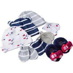 Gerber Newborn Baby Boy 8-Piece Caps, Mittens and Booties Accessory Baby Shower Gift Set
