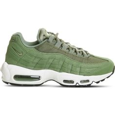 Nike Air Max 95 leather and mesh trainers ($121) ❤ liked on Polyvore featuring shoes, mesh shoes, synthetic shoes, real leather shoes, nike footwear and traction shoes