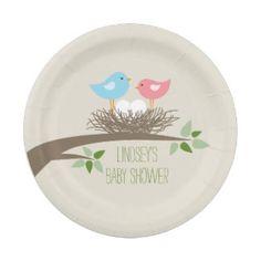 Twins Baby Bird's Nest   Baby Shower 7 Inch Paper Plate
