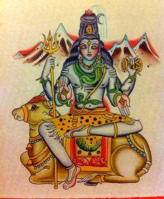 Shri Shri Shiva Mahadeva with Nandi. -Watercolor on board-Robert Ryan
