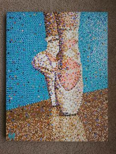 Acrylic Pointillism Painting Ballerina Pointe Shoes by RobHogan, $290.00
