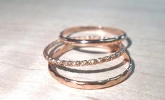 Rose gold rings -14k Rose gold fill Stacking Rings Set of three/Stackable rings/pink gold rings/rose gold stacking rings/knuckle rings by AWildViolet on Etsy https://www.etsy.com/listing/181512684/rose-gold-rings-14k-rose-gold-fill