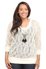 Twist Tees - Ivory Allover Lace Pullover SKU: 543213