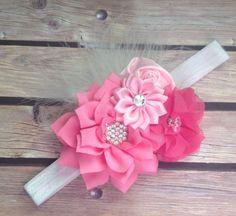 Pink headband, feather headband, baby girl headband, flower headband, floral headband, flower girl headband, vintage headband, photo prop by Heavenandhalos on Etsy https://www.etsy.com/listing/194563519/pink-headband-feather-headband-baby-girl