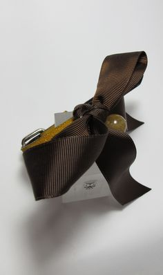 Leather collar for pets with rutilated quartz and brown grosgrain ribbon
