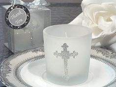 Blessed Events Cross Design Candle Holder at at Elegant Gift Gallery. We're your number one source for christening favors and Communion favors. Cross votive candles at discount prices! Glitter Candle Holders, Design Candle Holders, Glitter Candles, Glass Votive Candle Holders, Candle Holders Wedding, Silver Glitter, Votive Candles, Baptism Boy Favors, Christening Favors