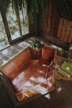 15 Rooms Proving the Best Home Design Came From the - Photos via Dry Dock Shop Today in excellent and highly addictive internet offerings comes the Dry D - Future House, My House, Sunken Bathtub, Modern Bathtub, Indoor Jacuzzi, Small Bathtub, Glass Bathtub, Bathtub Shelf, Wood Bathtub
