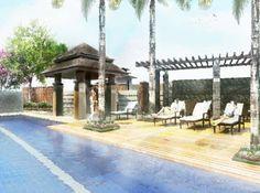 Accolade Place - Lap Pool #realEstate #condo #manilacondo www.mymanilacondo.com Gazebo, Pergola, Quezon City, Manila Philippines, Luxury Condo, Condos For Sale, Condominium, Water Features, Serenity