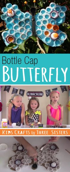 Upcycle plastic bottle caps into animal crafts. We made a cool bottle cap butterfly by saving our plastic bottle tops.