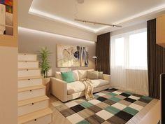 Einzimmer-Appartement in frischen Pastellfarben