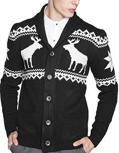 """Product review for S&S Men's Shawl Collar Sweater Snowflake Moose Button Cardigan Sweater.  Product Description Note: 1.Please compare the detail sizes with yours before bidding, please allow 2-4CM differs due to manual measurement 2.The items color may differ a little for the difference of shooting facilities.       Famous Words of Inspiration...""""Struggle is the..."""