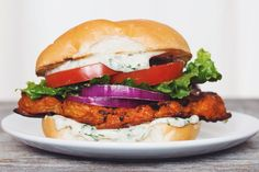 buffalo ranch cauliflower sandwich #vegan | RECIPE on hotforfoodblog.com