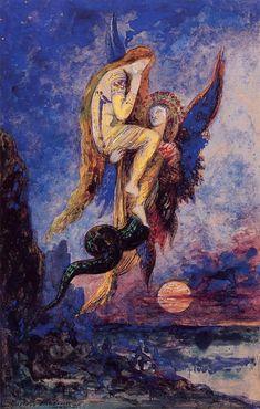 Chimera by Gustave Moreau - Canvas Art Print Art And Illustration, Georg Christoph Lichtenberg, Art Français, Drawn Art, Pre Raphaelite, Art Database, Art Moderne, Gustav Klimt, Fine Art