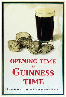 """Our Guinness ad puts oysters and Guinness together. """"Opening Time is Guinness Time. Nice pun on opening time and opening oysters. """"Guinness and oysters are good for you. All Beer, Best Beer, Beer 101, Guinness Advert, Guinness Draught, Premium Beer, Pub Signs, Fun Drinks, Beverages"""