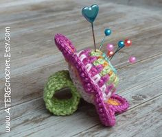 Crochet PINCUSHION FLOWER RING by ATERGcrochet by ATERGcrochet, €7.50