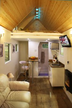 interesting tiny house interior. note the ladder is at the back