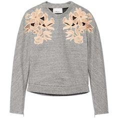 3.1 Phillip Lim Guipure lace-paneled cotton-blend sweatshirt ($235) ❤ liked on Polyvore featuring tops, hoodies, sweatshirts, grey, 3.1 phillip lim, loose fitting tops, grey sweat shirt, 3.1 phillip lim sweatshirt and gray top