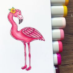Oh how i miss summer, cant wait for warmer days to come!💗 - Digistamp available at CharliesStamps on Etsy💗 - Pro Markers, Pink Flamingos, Copic, Cant Wait, My Images, Stamping, Coloring Pages, Etsy Seller, Day