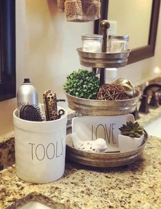38 Fantastic Bathroom Countertop Ideas Look Elegant - Bathroom Organization Best Pin Organize Bathroom Countertop, Bathroom Counter Decor, Countertop Decor, Rustic Bathroom Vanities, Bathroom Countertops, Bathroom Organization, Modern Bathroom, Neutral Bathroom, Bathroom Canisters
