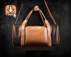 Leather duffle bag pattern PDF template and instructions for hand stitching Duffle Bag Patterns, Leather Bag Pattern, Chisel Set, Bag Pattern Free, Leather Duffle Bag, Hand Luggage, Vegetable Tanned Leather, Leather Craft, Travel Bag