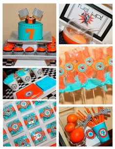 Go Kart Racer Party Birthday Race car by AmandasPartiesToGo Kids Birthday Themes, Kids Party Themes, Boy Birthday, Party Ideas, Go Kart Party, Race Car Party, Book Exchange Party, How To Make A Gift Bag, Motorcycle Party