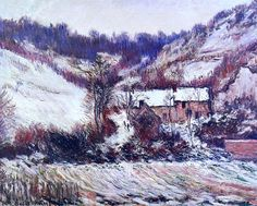 "lonequixote: "" Snow Effect at Falaise by Claude Monet """