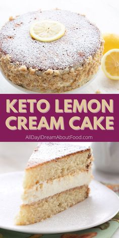 This delicious keto lemon cake is a low carb copycat of the famous Olive Garden Lemon Cream Cake. Delicious layers of almond flour cake with a lemony cream filling and a tender crumb garnish. How can you resist? Low Carb Deserts, Low Carb Sweets, Ketogenic Desserts, Keto Snacks, Ketogenic Diet, Sugar Free Desserts, Dessert Recipes, Cake Recipes, Lemon Cream Cake