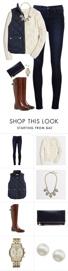 """""""J.crew pinstripe vest & cable knit sweater with statement necklace"""" by steffiestaffie ❤ liked on Polyvore featuring J Brand, J.Crew, Arturo Chiang, Clare V., Michael Kors and Majorica"""