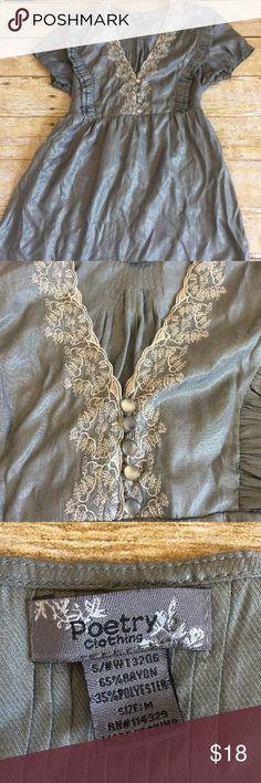 Poetry Clothing Grey Blouse Medium Poetry Clothing Grey Silver Ruffle Blouse Medium Top Lace Pleat Detail Empire Poetry Tops Blouses