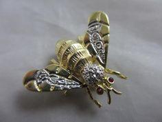 Diamond Wings 14k Gold Bee Bug Brooch Pin Vintage Art Deco c1920 TBJ00346   eBay