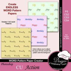 Word Pattern Paper Creator by Boop Designs