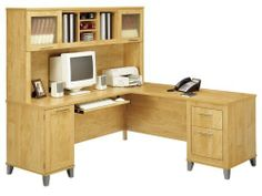 71 Inch L-Shaped Desk and Hutch - Bush Office Furniture - OFFPKG-36 by Bush Furniture. $682.00. Available in a rich Maple Cross finish with tapered metallic leg accents, the transitional Somerset Collection provides an ideal solution for both the home and home office. Includes: (1) 71 Inch L-Shaped Desk (WC81410) (1) Hutch for 71 Inch L-Shaped Desk (WC81411) Features: Desk Features: Keyboard and pedestals mount on left or right side for configuration flexibility Conceale...
